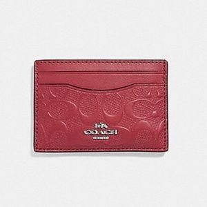 🔜COACH Signature Leather Flat Card Case Red